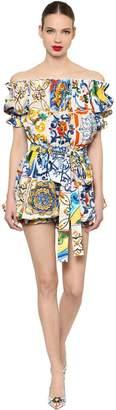 Dolce & Gabbana Off The Shoulder Maiolica Poplin Romper