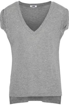 LnA Verso Gathered Mélange Linen-Blend Jersey T-Shirt