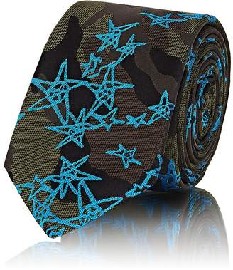 Valentino Men's Star-Detailed Camouflage Silk Necktie