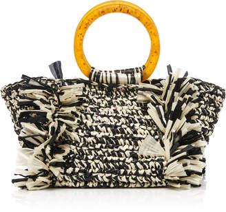 Carolina Santo Domingo Corallina Two-Tone Woven Raffia Bag