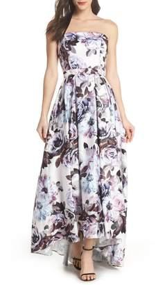 Xscape Evenings Floral Bustier High/Low Gown