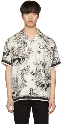 Givenchy White and Black Monster Silk Hawaiian Shirt