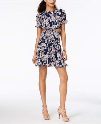 Bardot Floral Ruffled Cutout Fit & Flare Dress