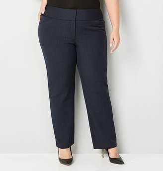 Avenue Plus Size Navy Plaid Bi-Stretch Trouser