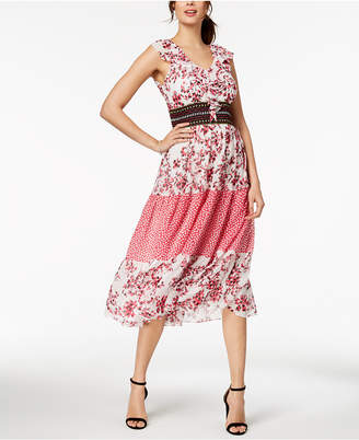 Taylor Floral Printed Banded-Waist Midi Dress