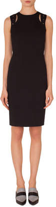 Akris Punto Sleeveless Cutout-Shoulder Knee-Length Jersey Sheath Dress