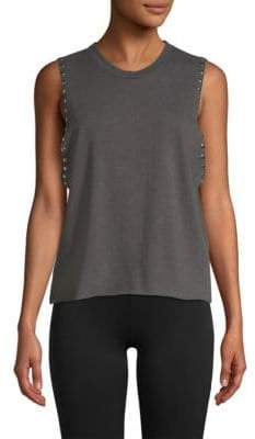 Monrow Studded Sweatshirt Tank Top