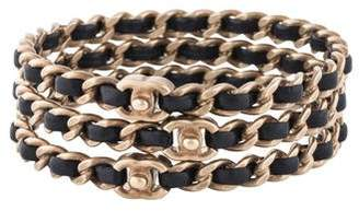Chanel Leather Chain Bangle Set of Three