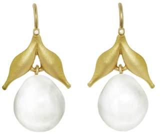 Cathy Waterman South Sea Pearl Drop Leaf Earrings