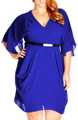 City Chic 'Colour Wrap' Surplice Dress