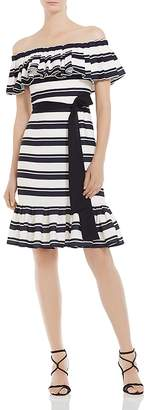 Halston Striped Off-the-Shoulder Dress