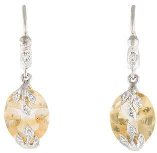 Cathy Waterman Platinum Citrine & Diamond Drop Earrings