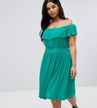 Brave Soul Plus Petal Midi Dress with Frill Bardot