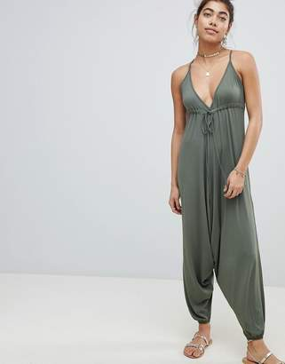 Asos DESIGN Jersey Jumpsuit With Drop Crotch And Harem Pant