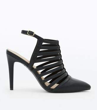 d92899237beb New Look Black Pointed Caged Stiletto Heels