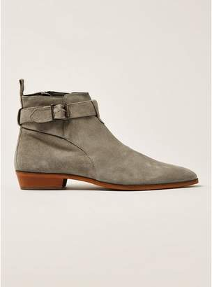 Topman Mens Grey Gray Suede Trail Buckle Boots