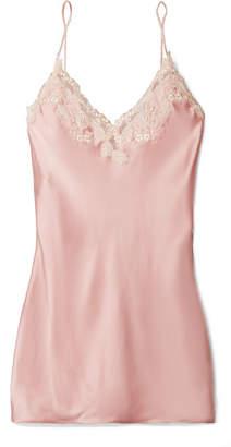 La Perla Maison Lace-trimmed Silk-blend Satin Chemise - Pastel pink