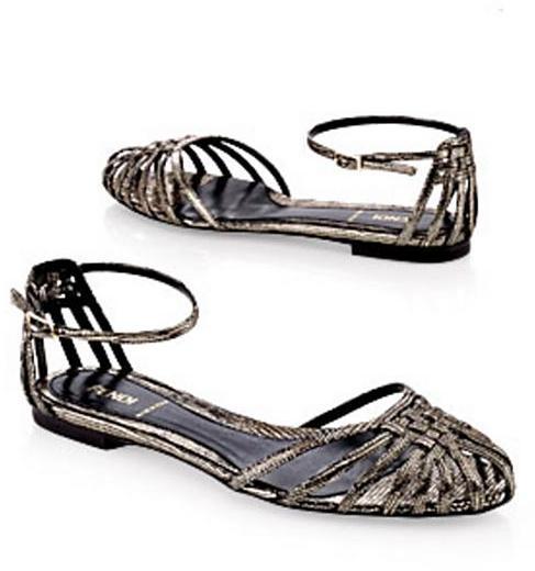 Fendi Metallic Basket Weave Flat Sandal