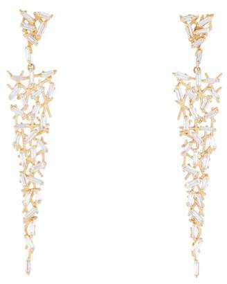 Suzanne Kalan 18K Diamond Baguette Uneven Drop Earrings