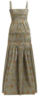Brock Collection Olinda Floral Print Taffeta Maxi Dress - Womens - Blue Multi