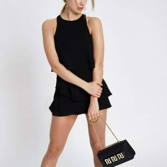 River Island Womens Black tiered frill romper