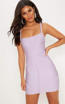 PrettyLittleThing Lilac Strappy Square Neck Bandage Bodycon Dress