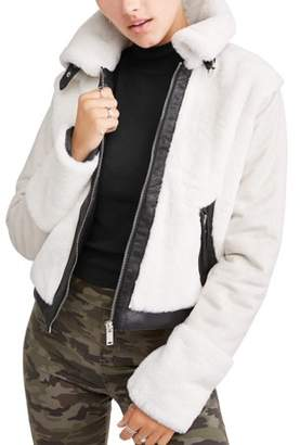 BHIP Juniors' Faux Fur Bonded to Faux Suede Jacket with Pleather Trim