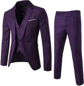 UNINUKOO Men's One Botton Slim Fit Casual Suit Jackets Waistcoat&Pants 41 (Label Size 5XL)