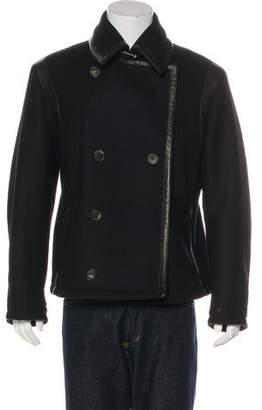Salvatore Ferragamo Leather-Trimmed Wool Double-Breasted Coat