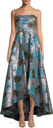 Marchesa Strapless Floral Fil-Coupe High-Low Gown