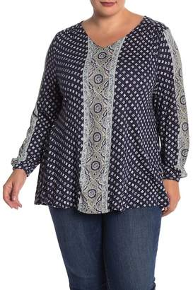 Lucky Brand Paisley Border Top (Plus Size)