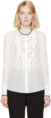 Nina Ricci White Silk Ruffle Blouse