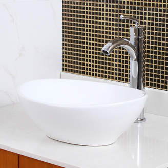 Elite Ceramic Oval Vessel Bathroom Sink Drain