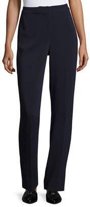 St. John Diana Cady Stretch Straight-Leg Pants, Navy