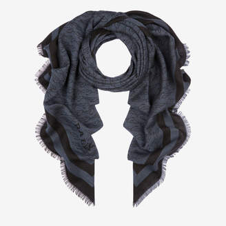 Bally Jacquard Birds Scarf Blue, Men's wool cashmere and silk scarf in blue navy