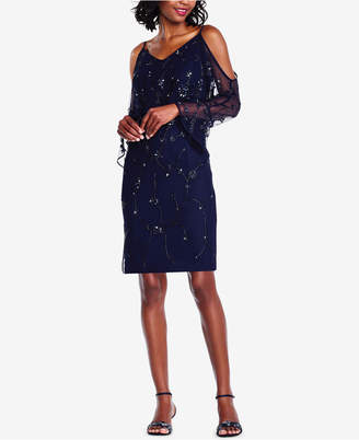 Adrianna Papell Embellished Cold-Shoulder Sheath Dress