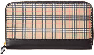 Burberry Small Scale Check & Leather Zip Around Wallet