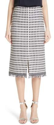 St. John Thatched Grid Knit Skirt
