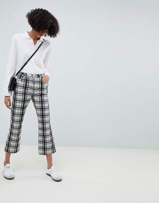 Asos Design DESIGN Egerton rigid cropped flare jeans in mono check print