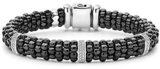 Lagos 9mm Black Caviar Bracelet with Diamond Stations, Size Medium