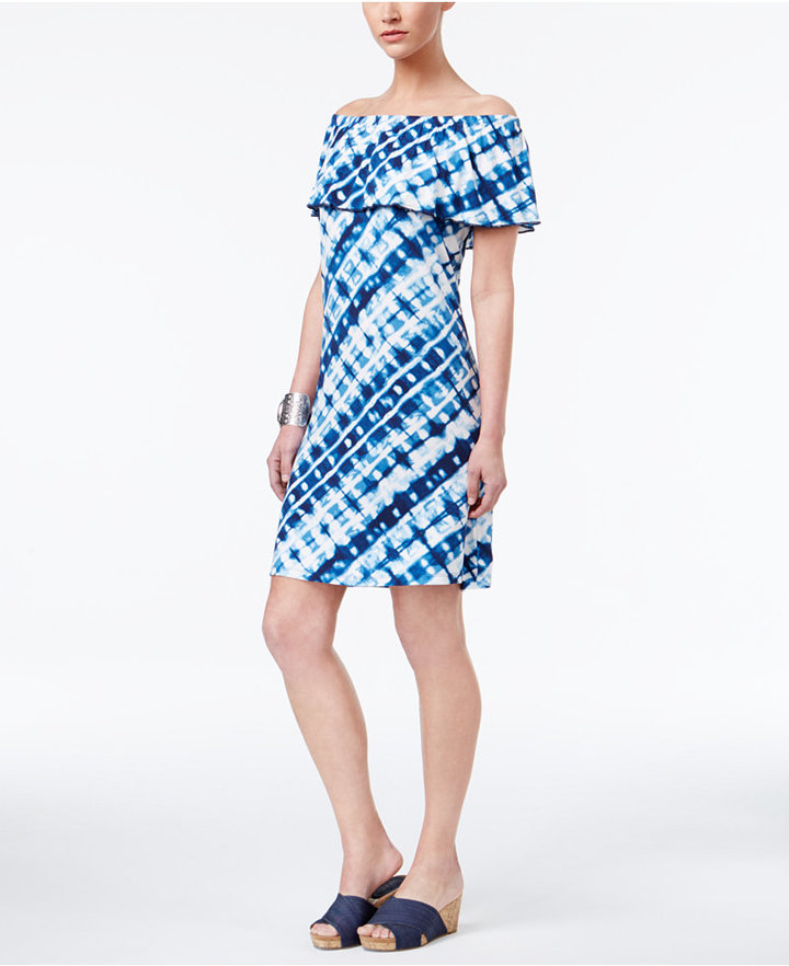 Style & Co Off-The-Shoulder Ruffled Dress, Only at Macy's