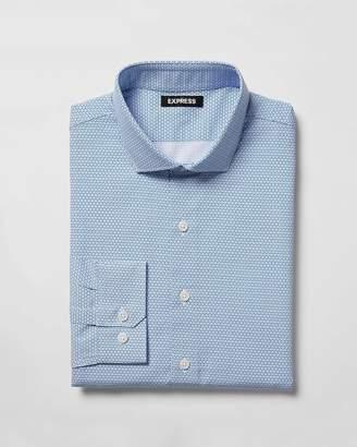Express Slim Geometric Print Spread Collar Dress Shirt
