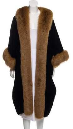 Natori Fox Fur-Trimmed Velvet Coat