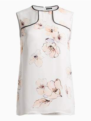 St. John Painted Pale Floral Silk Georgette Shell