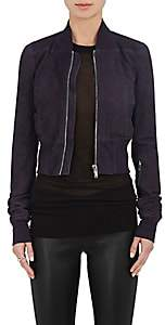 Rick Owens Women's Blistered Suede Bomber Jacket-Md. Purple