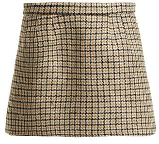 RED Valentino Houndstooth Wool Blend Mini Skirt - Womens - Camel