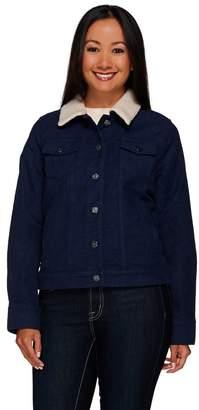 Isaac Mizrahi Live! Moleskin Jacket w/ Faux Shearling