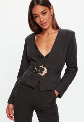 Missguided Black Cropped Western Belt Blazer