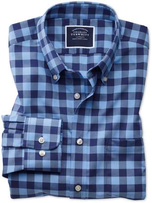 Charles Tyrwhitt Classic Fit Button-Down Non-Iron Twill Blue and Navy Gingham Cotton Casual Shirt Single Cuff Size Large