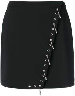 Versus safety pin embellished mini skirt
